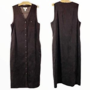 Talbots Brown Suede Look Button Front Tank Dress